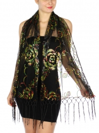 wholesale Multicolored sequined floral scarf Black