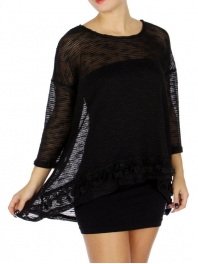 Wholesale WA00 Mesh w/ Lace Accent Top Black