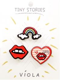 Wholesale L08A Rainbow Lips Heart 3 Pin Set