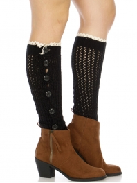 Wholesale S54 Ribbed solid knit leg warmer Brown