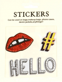 Wholesale WA00 HELLO PU sticker set for clothes & accessories