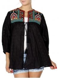 Wholesale K54D Balloon sleeve polka dot jacquard cardigan w/ embroidery PLUS SIZE BLACK