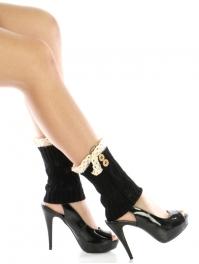 wholesale H10 Wood buttons lace top leg warmers Black
