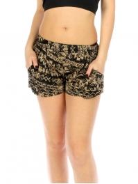 Wholesale K39 Aztec print shorts Beige/Black fashionunic