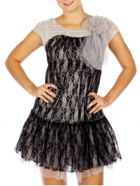 Wholesale N14D Mesh Overlay Dress w/ Detachable Corsage BLACK