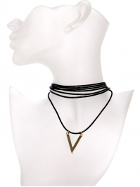 Wholesale WA00 V pendant multi cord choker GDBLK