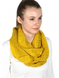 wholesale Solid lurex knit infinity scarf Yellow
