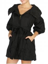 Wholesale N14D Crinkled Jacket w/ Waist Ties BLACK