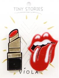 Wholesale L08A Lipstick & Rolling Stones 2 Pin Set