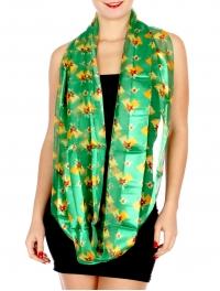 Wholesale G50B Sheer stripe satin-like Jingle Bell print infinity scarf GN