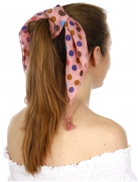 Wholesale I43B Square colorfu polka dots bandana w/ tassels