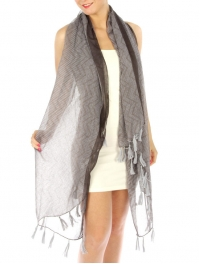 wholesale J00 Stripe border wave tasseled scarf Grey