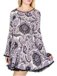 Wholesale T63A Sheer trim paisley dress Dark Purple