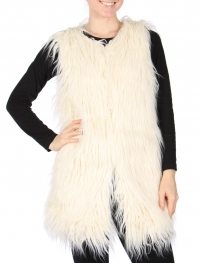 Wholesale T20S Open-front faux fur vest Ivory