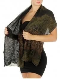 Wholesale S75 Abstract leopard solid 2 layer scarf Dozen