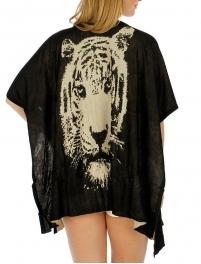 Wholesale O13 Tiger print sheer ruana Black