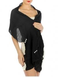 wholesale C00 Pebbled Solid Scarf Black fashionunic