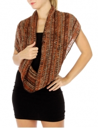 wholesale R65 Multi KKnet knit infinity scarf Rust
