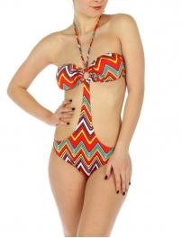 wholesale K18 zigzag print one piece swimsuit Coral