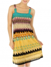 wholesale M25 Abstract smocked bodice dress Yellow