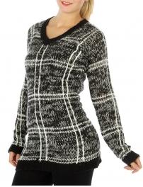 Wholesale S68 V neck marled knit sweater Black