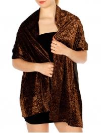 Wholesale T11B Leopard Print Stretchy Velvet Shawl BR