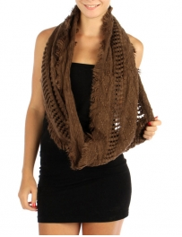 wholesale P02 Textured knit light infinity scarf BR