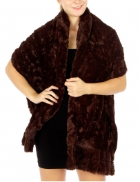 wholesale R61 2 layer ruffle casual faux fur shawl BR