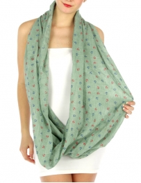 wholesale K13 Cotton viscose anchor infinity scarf Mint