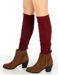 Wholesale BX00 Cable knit long leg warmers Burgundy