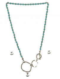 wholesale Anchor studs on loops necklace set WRH/TQS fashionunic