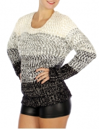 Wholesale O20D Round Neck Long Sleeve Sweater Cream/Black
