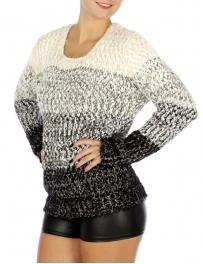 Wholesale O20D Round Neck Long Sleeve Sweater Cream/Black