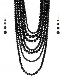 Wholesale M24E 7 Multi Layer Pearl Beads Necklace Set  BK
