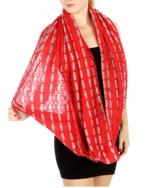 wholesale L30 Oversized Multi infinity Scarf Red
