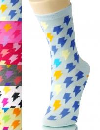 wholesale K58 Dozen lightening bolt print crew socks