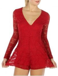 Wholesale S66 Long sleeve laced romper Red fashionunic