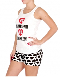 "Wholesale U37C ""No boyfriend, no problem"" 2pcs tank/shorts PJ set White"