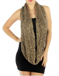 wholesale O25 marled chunky knit infinity scarf BK