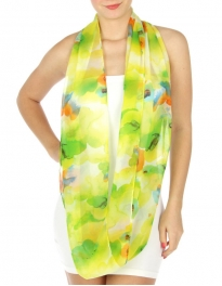 wholesale H18 Flower Watercolor Infinity Scarf Yellow