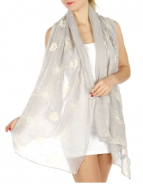 wholesale Flower embroidered scarf Gray fashionunic