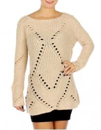 Wholesale N17E Crochet Tunic Sweater BLACK