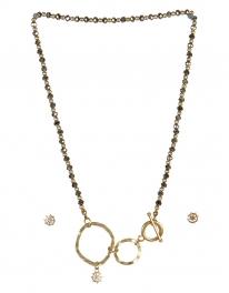 wholesale Studs on loops necklace set WG/RH fashionunic