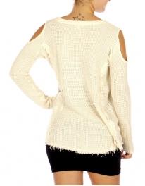Wholesale N16E Open Shoulder Knit Top IVORY