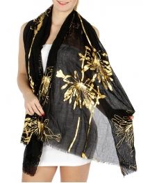 wholesale Crinkled metallic leaf scarf Black