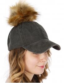 Wholesale Q77B Dyed cotton baseball cap w/ faux fur pompom BRDOLI