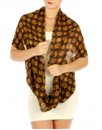 wholesale I33 Skull & Crown sheer infinity scarf Brown