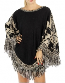 Wholesale R27 Abstract fringed knit poncho NVIV