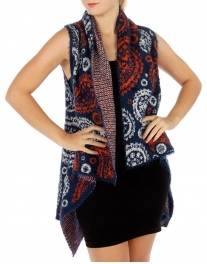 Wholesale R26 Fuzzy abstract knit vest BL fashionunic