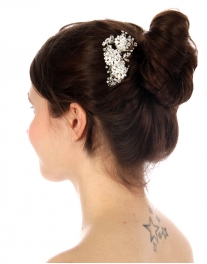 Wholesale N35 Floral rhinestone hair comb Silver